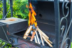 Open fireplace for barbecue Stock Image