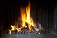 Open fireplace with fire Stock Photos