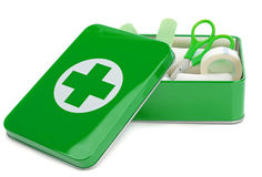 An open first aid box. With contents on a white background Stock Photo