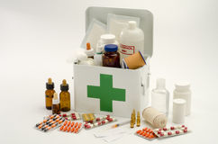 Open first aid kit Stock Photos