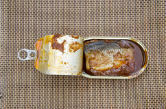 Open fish conserve box Royalty Free Stock Photos