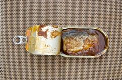 Open fish conserve box Royalty Free Stock Photos