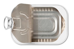 Open fish conserve tin. Open empty fish conserve can Royalty Free Stock Image