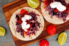 Open fish tacos with red cabbage lime slaw and salsa Royalty Free Stock Image