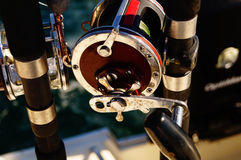 Open Fishing Reel. For big game fishing stock photo