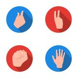 Open fist, victory, miser. Hand gesture set collection icons in flat style vector symbol stock illustration web. Open fist, victory, miser. Hand gesture set Royalty Free Stock Images