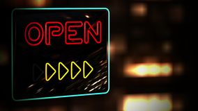 Open - Flashing vibrant colorful neon board background stock video footage