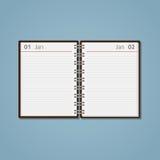 Open flat diary vector illustration