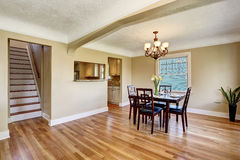Open floor plan dining area. View of stairs. Stock Photos