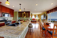 Open floor plan. Kitchen and dining area Stock Image