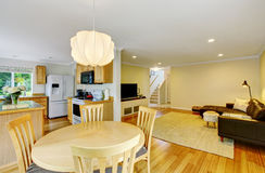 Open Floor Plan Kitchen And Living Room Also Dining Area At The Foreground Royalty Free