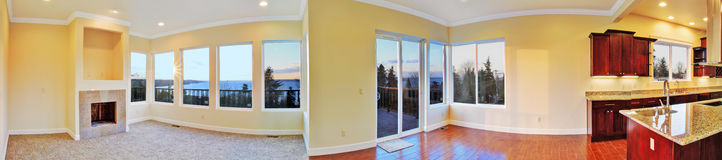 Open floor plan. Panoramic view of house interior Royalty Free Stock Photos