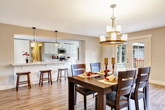Open floor plan spacious room interior. Dining area Stock Photography