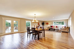 Open floor plan spacious room interior. Dining area Stock Images