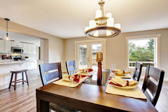 Open floor plan spacious room interior. Dining area Royalty Free Stock Photos