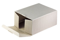 Open fluting cardboard box isolated. On white Stock Photos