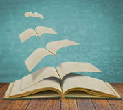 Open flying old books. Royalty Free Stock Photo