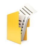 Open folder with files. Isolated on white background. 3d rendering image Stock Images