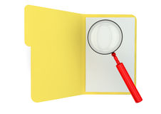 Open folder with magnifying glass. Render of an open folder with a magnifying glass Stock Image