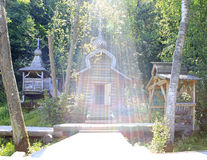 Open font in the sun. Holy Spring St. Sergius of Radonezh. Stock Photo