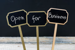 OPEN FOR BUSINESS Message Written With Chalk On Wooden Mini Blackboard Labels Royalty Free Stock Photos