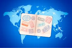 Open foreign passport with international visa stamps on blue world map with airline routes stock illustration