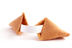 Open fortune cookie Stock Photos
