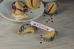 Open fortune cookie xoxo valentines day and tea royalty free stock images
