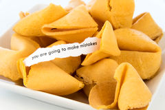 Open fortune cookie - YOU ARE GOING TO MAKE MISTAKES Stock Photos