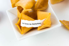 Open fortune cookie - YOU HAVE NO LIMITATIONS Stock Photo