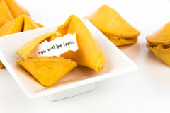 Open fortune cookie - YOU WILL BE FEARLESS Stock Photo