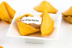 Open fortune cookie - YOU WILL BE FEARLESS Stock Images
