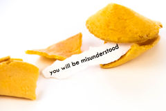 Open fortune cookie - YOU WILL BE MISUNDERSTOOD Royalty Free Stock Images