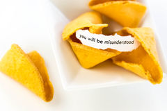 Open fortune cookie - YOU WILL BE MISUNDERSTOOD Stock Photography