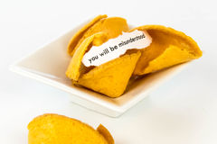 Open fortune cookie - YOU WILL BE MISUNDERSTOOD Royalty Free Stock Photos