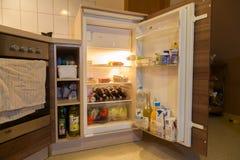 An open fridge. BURG / GERMANY - JANUARY 2, 2017: open fridge in a german household royalty free stock photography
