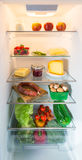 Open fridge filled with food Stock Photography