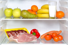 Open fridge full of fruits Royalty Free Stock Photo