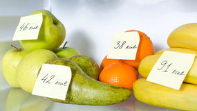 Open fridge full of fruits Royalty Free Stock Photography