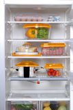 Open fridge. Full of products Stock Photo