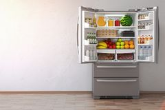 Open fridge refrigerator full of food in the empty kitchen inte. Rior. 3d Illustration royalty free illustration