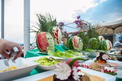 Open fruit and vegetable table. Outdoor table for visitors stock photography