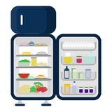 Open and full fridge of food Royalty Free Stock Images