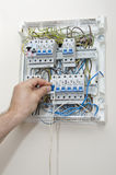 Open fuse box. Details of the open fuse box Royalty Free Stock Image