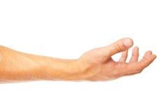 Open gömma i handflatan handgesten av mannen som isoleras på vit arkivfoto