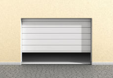 Open garage door at a modern building. Royalty Free Stock Photo