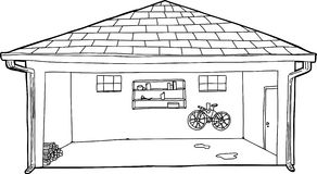 Open Garage Outline Cartoon Royalty Free Stock Photos