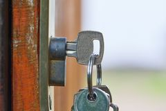 Open garden gate with key Royalty Free Stock Photography