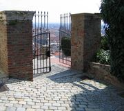 An open gate. From the past to the future. Schloßberg Graz, Austria Stock Photography