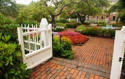 Open Gate. S at the garden entrance Royalty Free Stock Photos